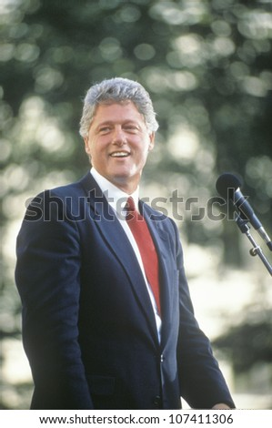 Governor Bill Clinton speaks in Ohio during the Clinton/Gore 1992 Buscapade campaign tour in Cleveland, Ohio - stock photo