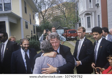 Governor Bill Clinton stops for a show of support on way to Governors Mansion on Election Day Nov. 3 of 1992 in Little Rock, Arkansas - stock photo