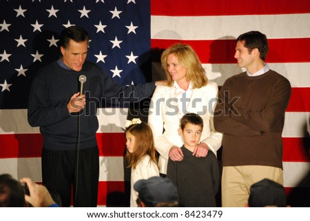 Governor Mitt Romney campaigning with family - stock photo