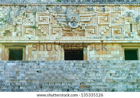 governor's palace in Uxmal Mayan city, Yucatan, Mexico - stock photo