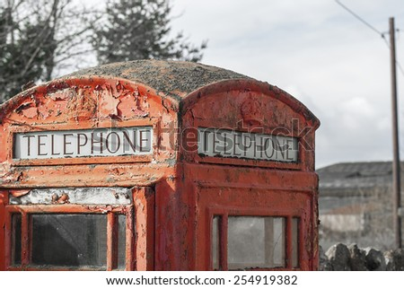 GPO phonebox with some colours removed, on a overcast day - stock photo