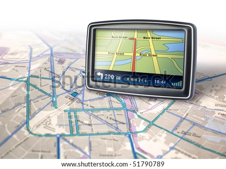 Gps auto navigator device on city map background - stock photo