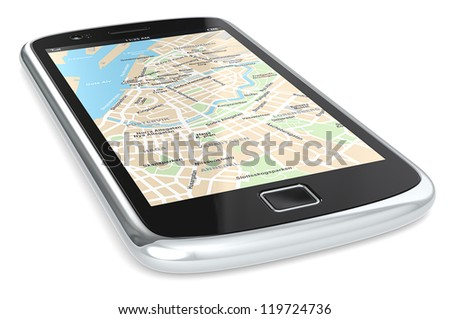 GPS. Black Smartphone with a GPS map. City Centre. - stock photo