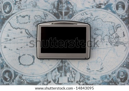 GPS - global positioning system on old map - stock photo