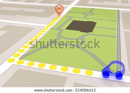 gps in car to find the road - stock photo