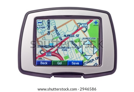 gps isolated on white background with bright screen - stock photo