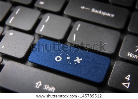 GPS key with location icon on laptop keyboard. Included clipping path, so you can easily edit it.