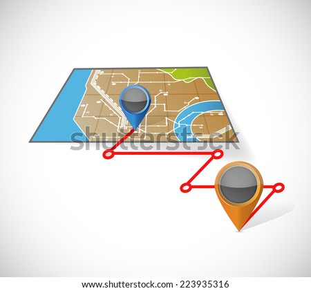 gps map and locations illustration design over a white background - stock photo