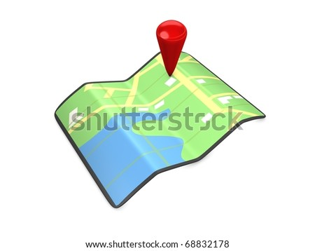GPS map 3d conceptual image, isolated on white background. - stock photo