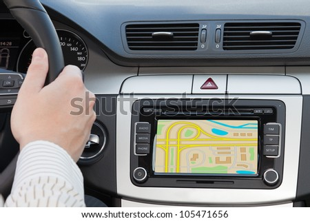 GPS navigation in interior of modern car - stock photo