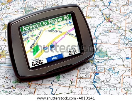 GPS on a map - stock photo