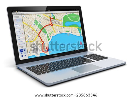 GPS satellite navigation, travel, tourism and location route planning business concept: laptop or notebook computer PC with wireless navigator map internet application isolated on white background - stock photo
