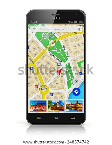GPS satellite navigation, travel, tourism and location route planning business concept: smartphone or mobile phone with wireless navigator service internet app on screen isolated on white background