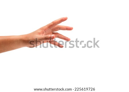 Grab the hand  isolated on white - stock photo