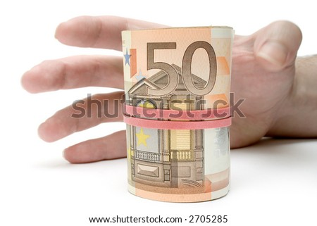 Grabbing a Roll of Money - stock photo