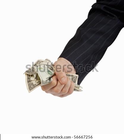 Grabbing some cash Closeup of businessman's hand grabbing and handful of cashmoney. - stock photo