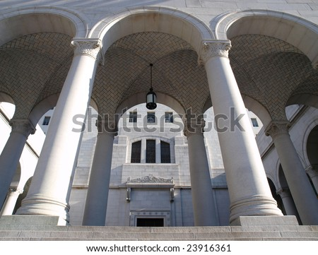 Graceful arches and afternoon light at the historic Los Angeles City Hall. - stock photo