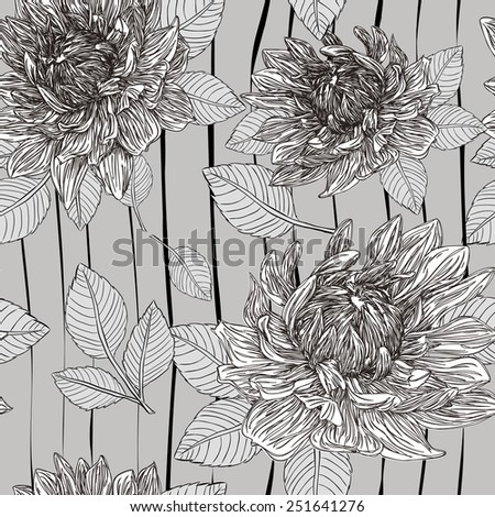 graceful floral seamless pattern over grey background - stock photo