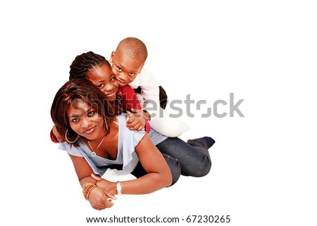 Graceful patient mother with two kids riding piggyback, horizontal with copy space - stock photo