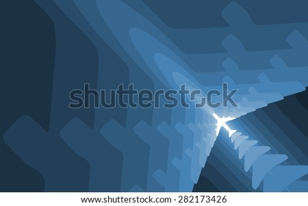 Graded airplane silhouettes background with space for text. Wallpaper version.  - stock photo