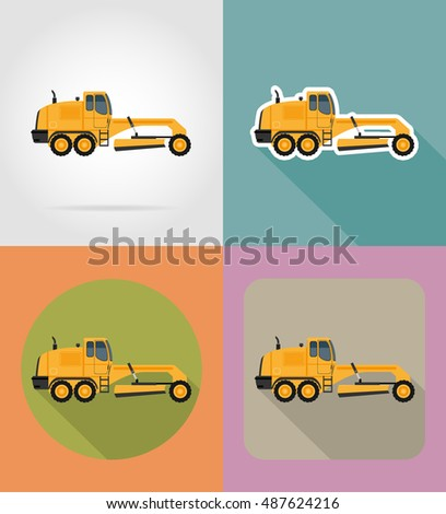 grader for road works flat icons illustration isolated on background