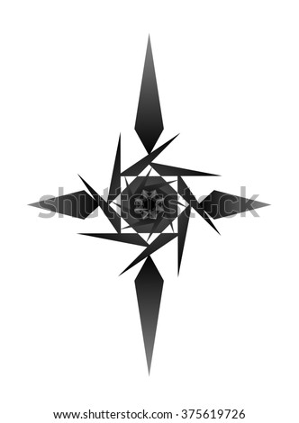 Gradient Black and Dark Gray Cross Like Four Pointed Star Shape isolated on White Background