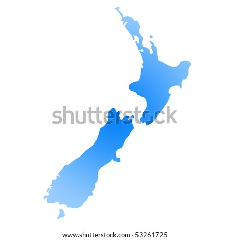 Gradient blue map of New Zealand isolated on white background.