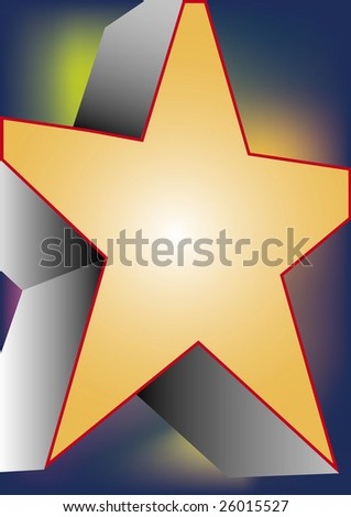 gradient colored background with a big yellow star
