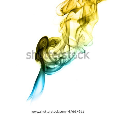 Gradient colored fume abstract shapes over white background - stock photo