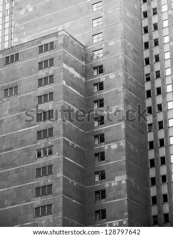 Gradient of light falling across commercial building - stock photo