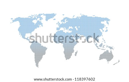 gradient square dotted world map on white - stock photo