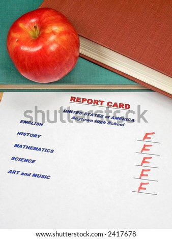 Grading Papers for School - USA Report Card - stock photo