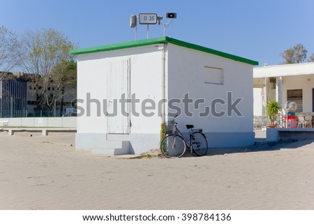 Grado, ITALY - 21 September 2015: A building of a managed beach in Grado, Italy. Grado is a well-known holiday destination.