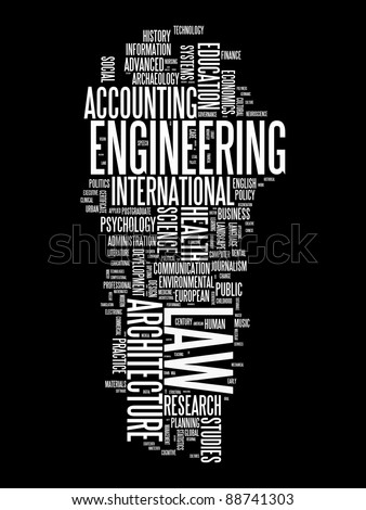 graduate and post graduate info-text graphics and arrangement concept on black background (word clouds) - stock photo