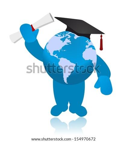 Graduate globe raised one's hand with diploma - stock photo