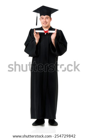 Graduate guy student in mantle with diploma, isolated on white background - stock photo