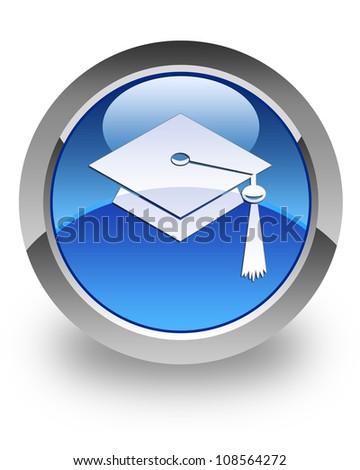 Graduate icon on glossy blue round button - stock photo