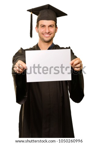 Graduate Man Showing Placard Isolated On White Background