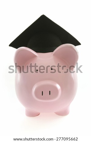 Graduate Piggy Bank on White Background