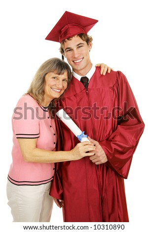 Graduate posing in cap and gown with his proud mother.  Isolated on white. - stock photo
