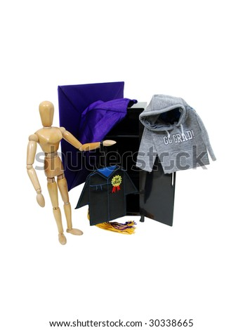 Graduate ready to celebrate and preparing for the graduation ceremony - path included - stock photo