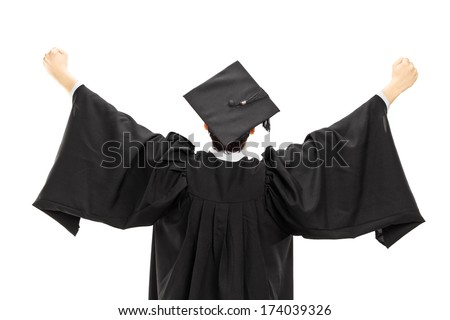 Graduate student in graduation gown with raised hands isolated on white background, rear view - stock photo