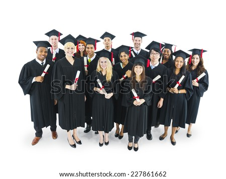 Graduates students holding their diploma with big smilling. - stock photo