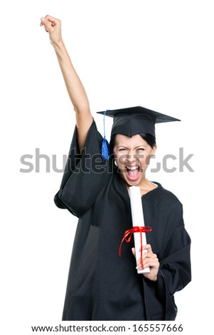 Graduating student gesturing fist with the diploma that is the symbol of wisdom and knowledge, isolated on white