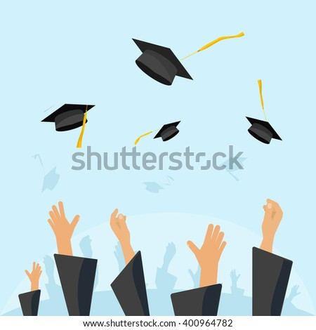 Graduating students of pupil hands in gown throwing graduation caps in the air, flying academic hats, throw mortar boards in the sky flat cartoon illustration design isolated on blue background image