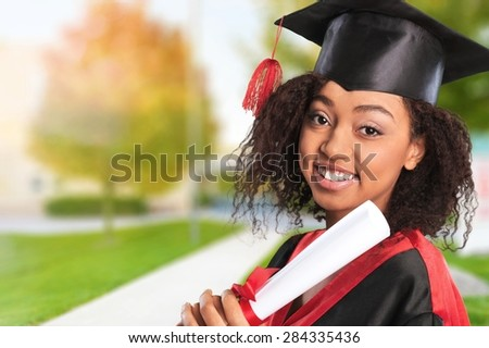 Graduation, African Descent, Student. - stock photo