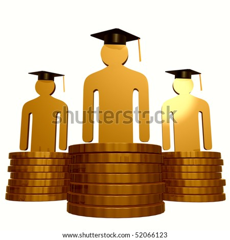 Graduation and scholarship fund icon illustration - stock photo