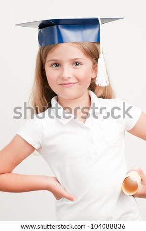 Graduation - best schoolgirl with certificate - stock photo