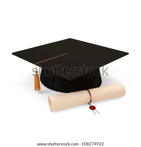Graduation Cap and Diploma isolated on white background - stock photo