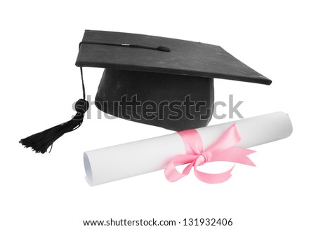 Graduation cap and diploma on white background - stock photo